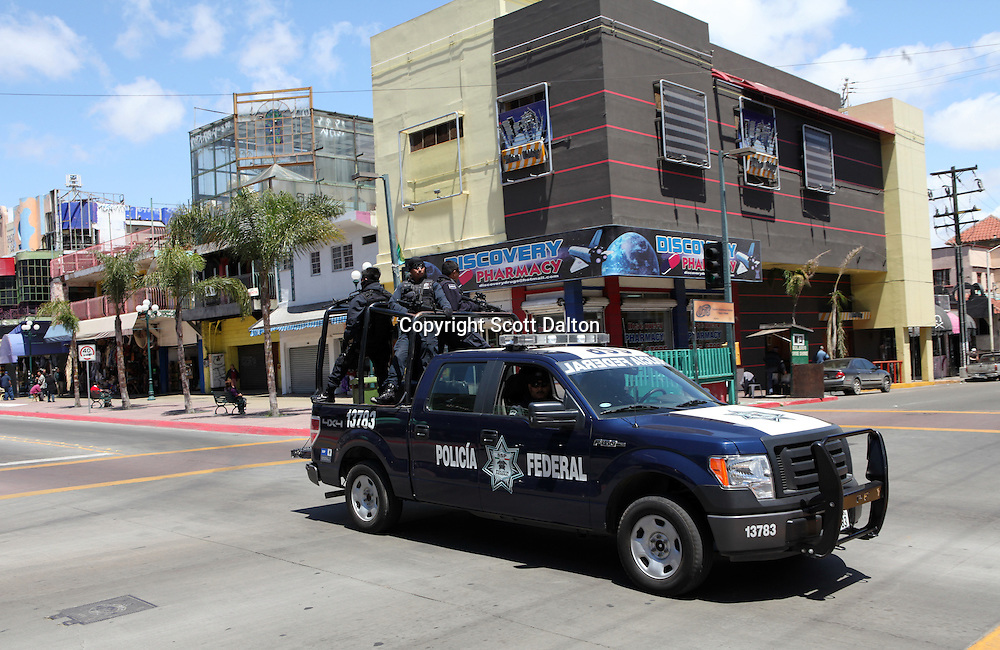 Federal Police patrol the streets of Tijuana, Mexico on April 29, 2010. (Photo/Scott Dalton)