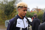 AFC Wimbledon striker Lyle Taylor (33) arriving during the The FA Cup match between AFC Wimbledon and Lincoln City at the Cherry Red Records Stadium, Kingston, England on 4 November 2017. Photo by Matthew Redman.