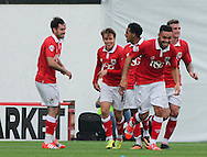 Greg Cunningham (left) of Bristol City celebrates scoring his sides second goal with his team mates  during the Sky Bet League 1 match at Ashton Gate, Bristol<br /> Picture by Tom Smith/Focus Images Ltd 07545141164<br /> 06/09/2014