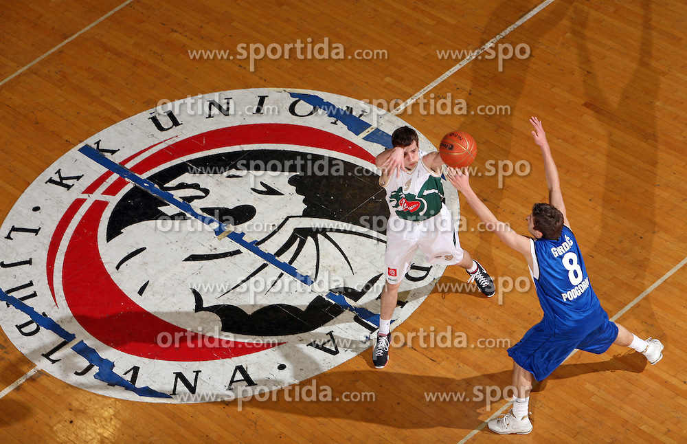 Goran Dragic of Union Olimpija and Nemanja Gordic of Buducnost during basketball game of NLB league ABA, 20th round, between Union Olimpija, Ljubljana and Buducnost, Podgorica, played in Ljubljana in Tivoli Hall  on February 3, 2008. (Photo by Vid Ponikvar / Sportal Images).