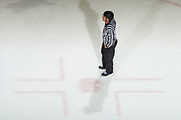 KELOWNA, CANADA - OCTOBER 10: Llinesman Dustin Minty stands at the hash marks at the Kelowna Rockets  on October 10, 2018 at Prospera Place in Kelowna, British Columbia, Canada.  (Photo by Marissa Baecker/Shoot the Breeze)  *** Local Caption ***