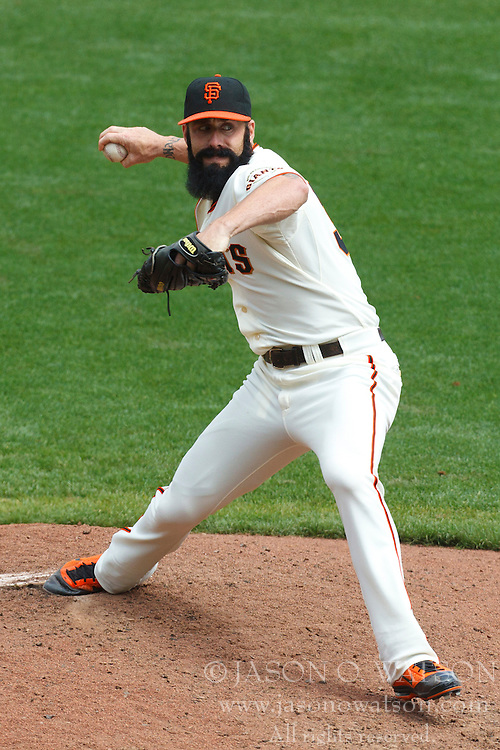 August 7, 2011; San Francisco, CA, USA;  San Francisco Giants relief pitcher Brian Wilson (38) pitches against the Philadelphia Phillies during the ninth inning at AT&T Park. San Francisco defeated Philadelphia 3-1.