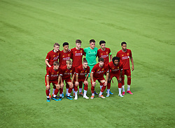 NAPLES, ITALY - Tuesday, September 17, 2019: Liverpool's players line-up for a team group photograph before the UEFA Youth League Group E match between SSC Napoli and Liverpool FC at Stadio Comunale di Frattamaggiore. Back row L-R: Thomas Clayton, Ki-Jana Hoever, Morgan Boyes, goalkeeper Benjamin Winterbottom, captain Curtis Jones, Elijah Dixon-Bonner. Front row L-R: Leighton Clarkson, Jake Cain, Harvey Elliott, Neco Williams, Yasser Larouci. (Pic by David Rawcliffe/Propaganda)