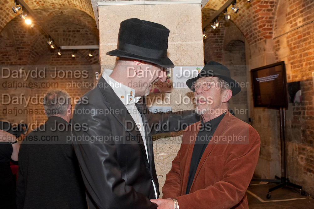 RICHARD STRANGE; JOHN HURT, The launch party of HiBrow and A Mighty Big If. ÊThe Crypt. St. Martins in the Fields. London. 24 January 2012<br /> RICHARD STRANGE; JOHN HURT, The launch party of HiBrow and A Mighty Big If. The Crypt. St. Martins in the Fields. London. 24 January 2012