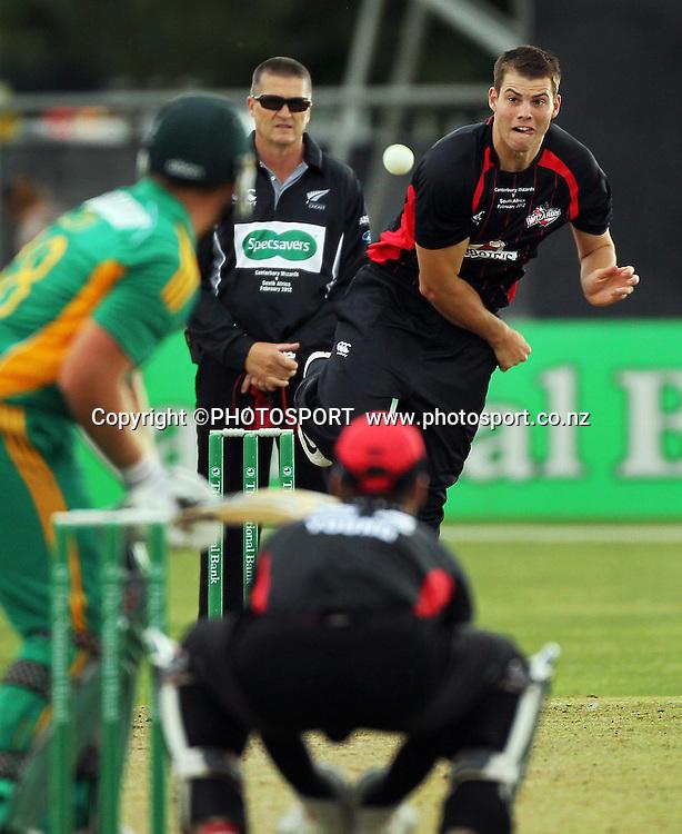 Tim Johnston bowling for Canterbury. Canterbury Wizards v South Africa. International Twenty20 cricket match, Hagley Oval, Wednesday 15 February 2012. Photo : Joseph Johnson / photosport.co.nz