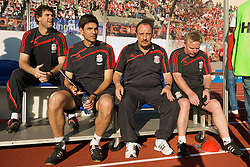 OSLO, NORWAY - Wednesday, August 5, 2009: Liverpool's manager Rafael Benitez with goalkeeping coach Xavi Valero first team coach Mauricio Pellegrino, assistant manager Sammy Lee before a preseason match against FC Lyn Oslo at the Bislett Stadion. (Pic by David Rawcliffe/Propaganda)