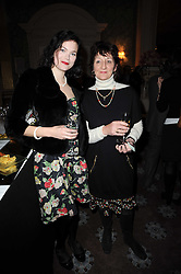 Left to right, JASMINE GUINNESS and JANE ORMSBY GORE at a party to celebrate Penguin's reissue of Nancy Mitford's 'Wigs on The Green' hosted by Tatler at Claridge's, Brook Street, London on 10th March 2010.