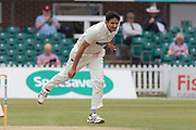 Muhammad Abbas bowling during the Specsavers County Champ Div 2 match between Leicestershire County Cricket Club and Durham County Cricket Club at the Fischer County Ground, Grace Road, Leicester, United Kingdom on 9 July 2019.