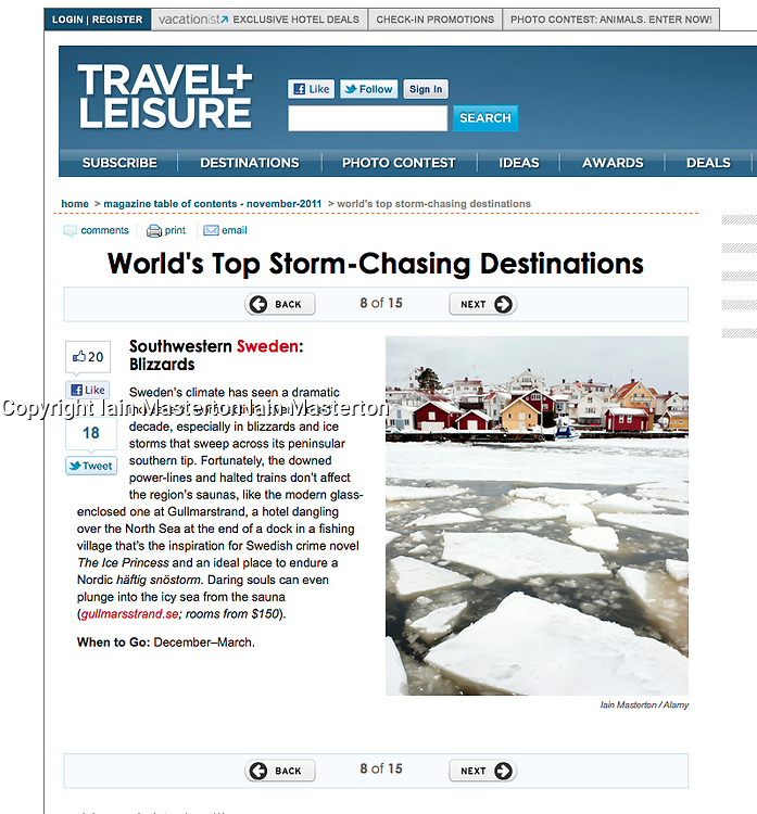 Tearsheet from Travel and Leisure website - Sweden in Winter