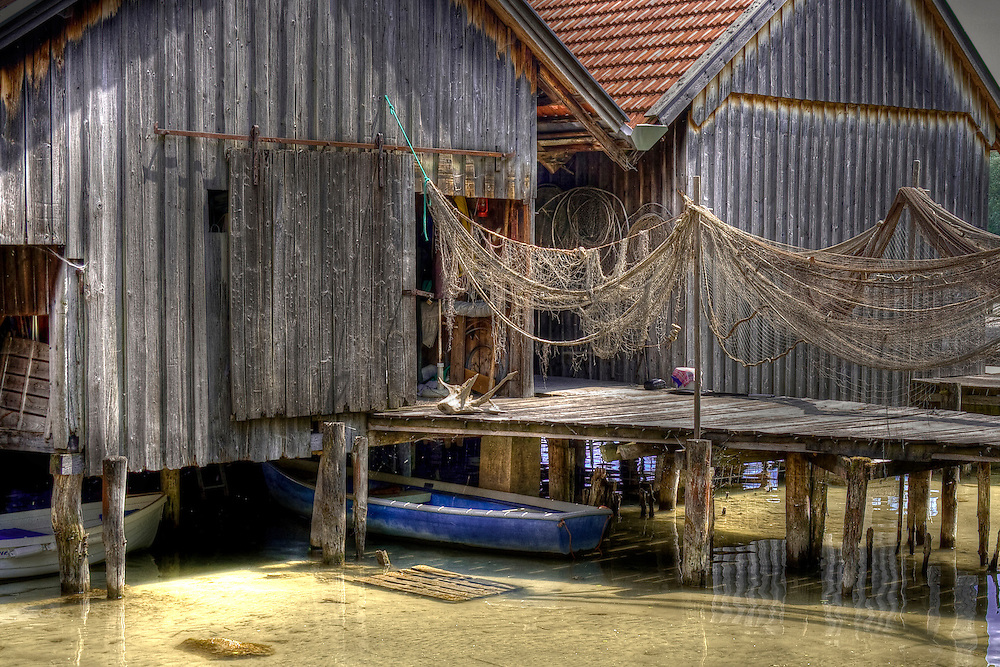 Fishing huts on Starnberger See, Bavaria, Germany