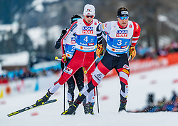 24.02.2019, Seefeld, AUT, FIS Weltmeisterschaften Ski Nordisch, Seefeld 2019, Nordischen Kombination, Teambewerb, Langlauf, im Bild v.l. Jarl Magnus Riiber (NOR), Bernhard Gruber (AUT) // f.l. Jarl Magnus Riiber of Norway and Bernhard Gruber of Austria during the cross country for the team competition Nordic Combined of FIS Nordic Ski World Championships 2019 at the Seefeld, Austria on 2019/02/24. EXPA Pictures © 2019, PhotoCredit: EXPA/ Stefan Adelsberger
