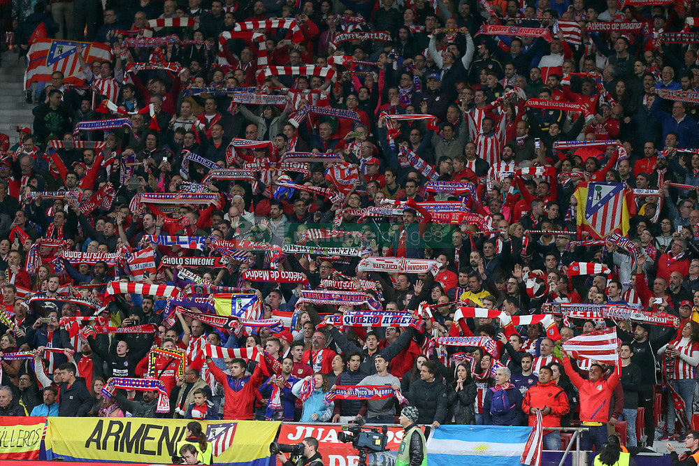 May 3, 2018 - Madrid, Spain - SUPPORTERS of Atletico de Madrid wave scarves during the UEFA Europa League, semi final, 2nd leg football match between Atletico de Madrid and Arsenal FC on May 3, 2018 at Metropolitano stadium in Madrid, Spain (Credit Image: © Manuel Blondeau via ZUMA Wire)