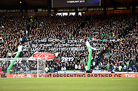 01/02/15 SCOTTISH LEAGUE CUP SEMI-FINAL<br /> CELTIC v RANGERS<br /> HAMPDEN - GLASGOW<br /> Celtic fans display a banner ahead of kick-off.