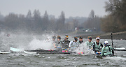 Putney. London,  Great Britain.<br /> CUWBC. Blue Boat, rowing through a stretch of rough water [Tide vs Wind].<br /> 2016 Tideway Week, Putney. Putney Embankment, Championship Course. River Thames.<br /> <br /> Saturday  26/03/2016 <br /> <br /> [Mandatory Credit; Peter SPURRIER/Intersport-images]
