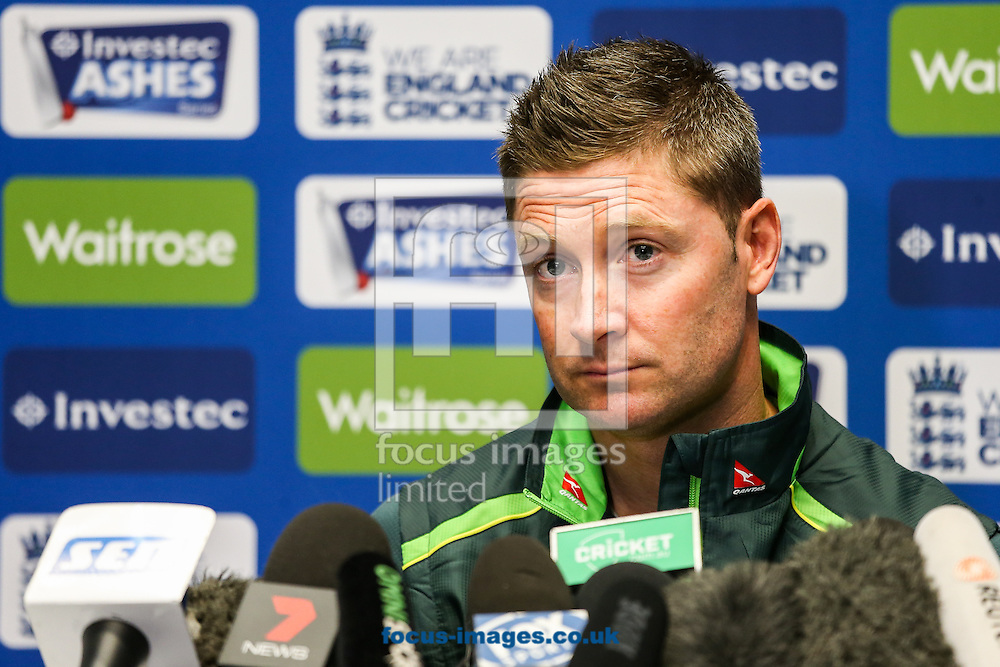 Australian captain Michael Clarke during the Australia Press Conference before the first Test Match of the Investec Ashes Series at Sophia Gardens, Cardiff<br /> Picture by Andy Kearns/Focus Images Ltd 0781 864 4264<br /> 07/07/2015