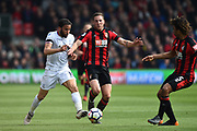 Andros Townsend (10) of Crystal Palace battles for possession with Dan Gosling (4) of AFC Bournemouth during the Premier League match between Bournemouth and Crystal Palace at the Vitality Stadium, Bournemouth, England on 7 April 2018. Picture by Graham Hunt.