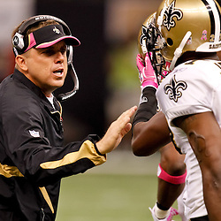 October 3, 2010; New Orleans, LA, USA; New Orleans Saints head coach Sean Payton instructs defensive players during the second half against the Carolina Panthers at the Louisiana Superdome. The Saints defeated the Panthers 16-14. Mandatory Credit: Derick E. Hingle