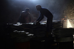 Egyptian workers make aluminous cooking pots at a local factory in Mit Ghamr of Dakahlia, 150 km north of Cairo, Egypt, on March 13, 2016. There are about 1,500 aluminous product factories in Mit Ghamr with over 80,000 workers employed. These factories produce over 80% of Egypt's domestic aluminous products and many of the products are exported to other African countries. EXPA Pictures © 2016, PhotoCredit: EXPA/ Photoshot/ Ahmed Gomaa<br /> <br /> *****ATTENTION - for AUT, SLO, CRO, SRB, BIH, MAZ, SUI only*****