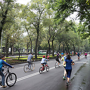 Locals ride their bikes and run on Paseo de la Reforma in Mexico City when the road is closed off for recreation.