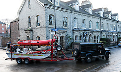 © Licensed to London News Pictures. 29/12/15<br /> York, UK. <br /> <br /> A flood rescue boat is towed away as flood water begins to subside on Huntington Road in York. Further rainfall is expected over coming days as Storm Frank approaches the east coast of the country.<br /> <br /> Photo credit : Ian Forsyth/LNP