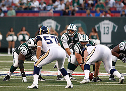 Aug 14, 2009; East Rutherford, NJ, USA;   New York Jets quarterback Mark Sanchez (6) gets ready to take the snap during the first half at Giants Stadium.