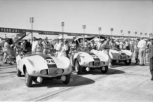 Trio of Arnolt Bristols lined up in pit lane prior to the start of the 1955 Sebring 12-hour race. Photo by Ozzie Lyons