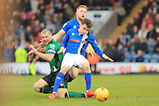 Stephen Dawson is fouled by Callum Camps and Oliver Rathbone during the EFL Sky Bet League 1 match between Rochdale and Scunthorpe United at Spotland, Rochdale, England on 10 December 2016. Photo by Daniel Youngs.