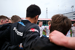 Joe Snow (capt) of Exeter Chiefs U18 speaks as his side huddle after securing a narrow win - Rogan Thomson/JMP - 16/02/2017 - RUGBY UNION - Sixways Stadium - Worcester, England - Wasps U18 v Exeter Chiefs U18 - Premiership Rugby Under 18 Academy Finals Day 3rd Place Play-Off.