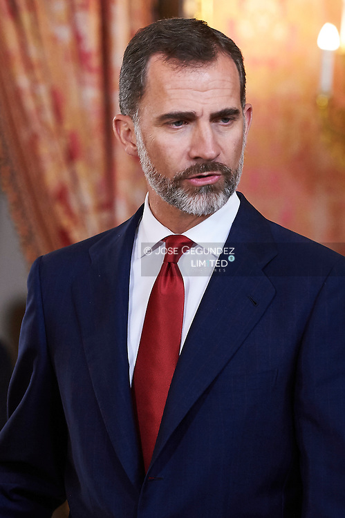 King Felipe VI of Spain attended a lunch to the President of the Republic of Paraguay, Mr. Horacio Cartes Jara at Palacio Real on June 9, 2015 in Madrid