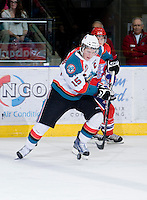 KELOWNA, CANADA, JANUARY 4: Colton Sissons #15 of the Kelowna Rockets skates with the puck as the Spokane Chiefs visit the Kelowna Rockets on January 4, 2012 at Prospera Place in Kelowna, British Columbia, Canada (Photo by Marissa Baecker/Getty Images) *** Local Caption ***