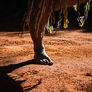 Feet of Anangu Aboriginal man performing traditional inma
