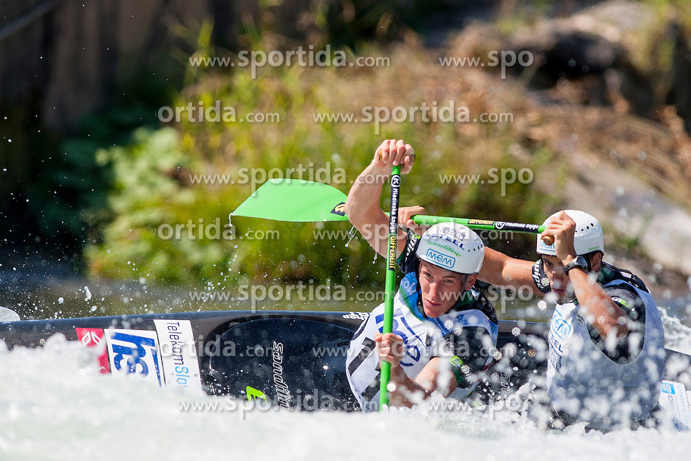 Saso Taljat and Luka Bozic of Slovenia during Canoe (C2) Man final race at ICF Canoe Slalom World Cup Sloka 2013, on August 18, 2013, in Tacen, Ljubljana, Slovenia. (Photo by Urban Urbanc / Sportida.com)