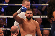 Tony Bellew lifts his gloves at the O2 Arena, London, United Kingdom on 5 May 2018. Picture by Phil Duncan.