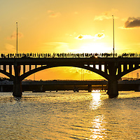Sunset at Congress Street Bridge in Austin, TX, home to the world's largest urban bat colony