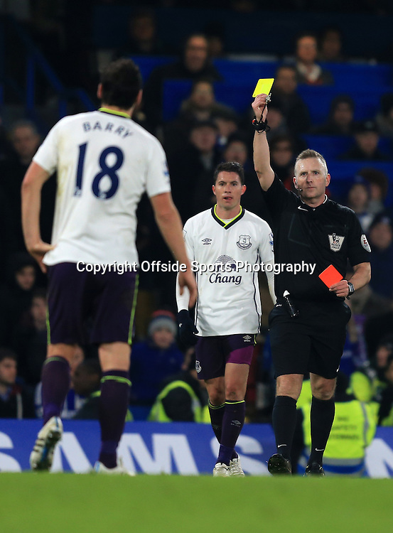 11 February 2015 - Barclays Premier League - Chelsea v Everton - Gareth Barry of Everton is shown a 2nd yellow card and sent off - Photo: Marc Atkins / Offside.