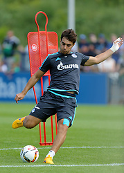 21.07.2015, Trainingsanlage FC Schalke 04, Gelsenkirchen, GER, 1. FBL, FC Schalke 04, Training, im Bild Kaan Ayhan (Schalke) mit Ball beim Schusstraining // during a training session of the German Bundesliga Club FC Schalke 04 at the Trainingsanlage FC Schalke 04 in Gelsenkirchen, Germany on 2015/07/21. EXPA Pictures © 2015, PhotoCredit: EXPA/ Eibner-Pressefoto/ Hommes<br /> <br /> *****ATTENTION - OUT of GER*****