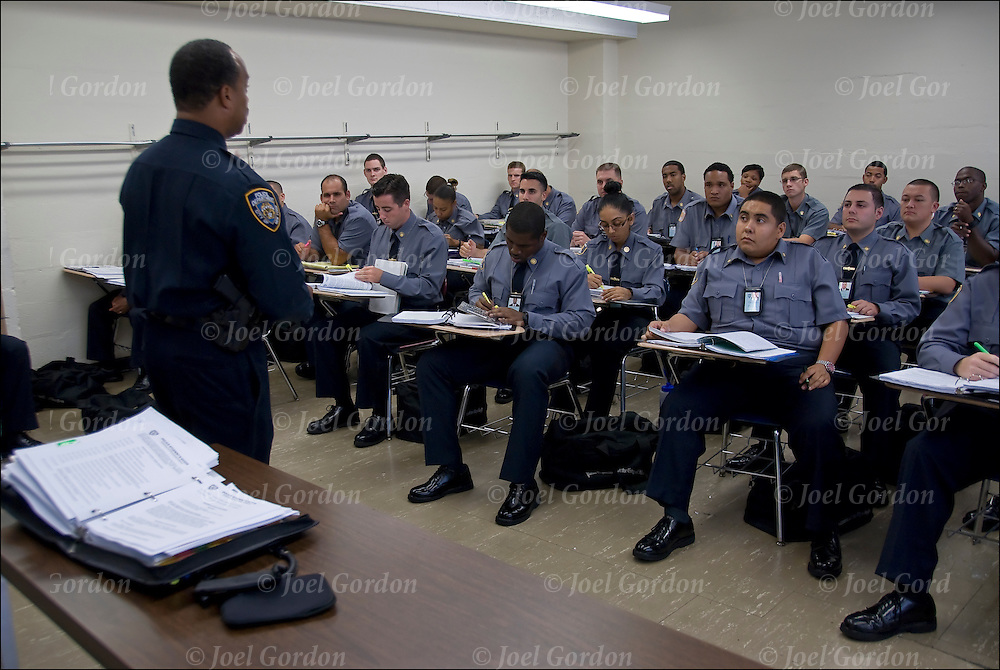 New York Police Department Academy in Manhattan.  Recruits or PPO (Probationary Police Officers) in classroom listening to instructor.<br /> <br /> The 2011 class, during the six months of training, is the largest class since 2006 with 1,635 recruits.