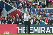 Manchester United Manager Jose Mourinho gestures with his fingers on his eyes during the The FA Cup Semi Final match between Manchester United and Tottenham Hotspur at Wembley Stadium, London, England on 21 April 2018. Picture by Phil Duncan.