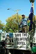 Rally to protest the demolition-by-neglect (and government indifference) of the Guildford Hotel.<br />