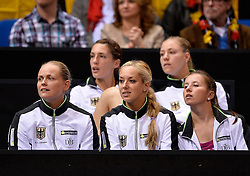 20.04.2013, Porsche-Arena, Stuttgart, GER, Fed CUP, Playoff, Deutschland vs Serbien, im Bild deutsche Mannschaft fiebert mit, v.li.: Anna-Lena GRÖNEFELD GER Andrea PETKOVIC GER Sabine LISICKI GER Angelique KERBER GER Annika BECK GER,, Tennis Damen, Fed Cup Federations FedCup Play-Off Aufstieg World Group, 20.04.2013, Deutschland vs Serbien, Germany vs Serbia, Porsche-Arena Stuttgart 20.-21.04.2013 // during the Fed Cup World Group Playoff between Germany and Serbia at the Porsche-Arena, Stuttgart, Germany on 2013/04/20. EXPA Pictures © 2013, PhotoCredit: EXPA/ Eibner/ Eckhard Eibner..***** ATTENTION - OUT OF GER *****