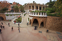 Looking down on Park Guell from one of the buildings at the entrance in Barcelona, Spain.