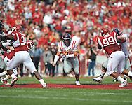 Ole Miss quarterback Jeremiah Masoli (8) runs at Reynolds Razorback Stadium in Fayetteville, Ark. on Saturday, October 23, 2010.