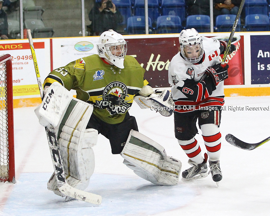 TRENTON, ON  - MAY 4,  2017: Canadian Junior Hockey League, Central Canadian Jr. &quot;A&quot; Championship. The Dudley Hewitt Cup. Game 5 between Powassan Voodoos and the Georgetown Raiders. Jordan Crocker #9 of the Georgetown Raiders. Jordan Crocker #9 of the Georgetown Raiders skates through the crease during the first period.<br /> (Photo by Tim Bates / OJHL Images)