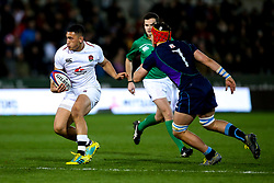 Manu Vunipola of England U20 takes on Connor Boyle of Scotland U20 - Mandatory by-line: Robbie Stephenson/JMP - 15/03/2019 - RUGBY - Franklin's Gardens - Northampton, England - England U20 v Scotland U20 - Six Nations U20