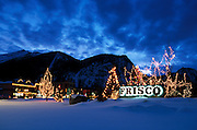 East Entrance to Main Street at Dusk with X-mas Lights, Winter, Frisco, Colorado