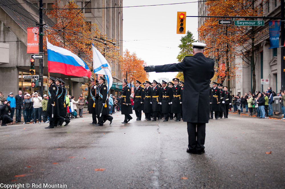 November 11, 2011 - Russian sailors participate in Vancouver's Remembrance Day ceremony and parade in 2011, marking the first time in 35 years that a Russian fighting ship has appeared in the Vancouver harbour.<br /> <br /> Photo: &copy; 2011 Rod Mountain<br /> <br /> http://www.rodmountain.com<br /> <br /> @rod_mountain