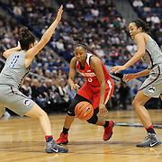 HARTFORD, CONNECTICUT- DECEMBER 19:  Kelsey Mitchell #3 of the Ohio State Buckeyes drives to the basket defended by Kia Nurse #11 of the Connecticut Huskies and Napheesa Collier #24 of the Connecticut Huskies during the UConn Huskies Vs Ohio State Buckeyes, NCAA Women's Basketball game on December 19th, 2016 at the XL Center, Hartford, Connecticut (Photo by Tim Clayton/Corbis via Getty Images)
