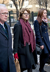 © London News Pictures. 13/02/2013 . London, UK.  Vicky Pryce (centre) arriving at Southwark Crown Court on February 13, 2013 where the jury is expected to go out to consider a verdict in the trial of Vicky Pryce for perverting the course of justice. Vicky Pryce has admitted  accepting penalty points incurred by her former husband and disgraced MP Chris Huhne in 2003. Photo credit : Ben Cawthra/LNP
