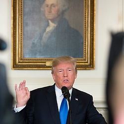 """Donald Trump releases a photo on Instagram with the following caption: """"President Donald J. Trump delivers remarks announcing the result of the administration\u2019s strategic review of the policy toward Iran, Friday, October 13, 2017, in the Diplomatic Reception Room at the White House in Washington, D.C. Full remarks via #Facebook - cut/paste \u0026 enter into browser: \n45.wh.gov/91ZfaQ"""". Photo Credit: Instagram *** No USA Distribution *** For Editorial Use Only *** Not to be Published in Books or Photo Books ***  Please note: Fees charged by the agency are for the agency's services only, and do not, nor are they intended to, convey to the user any ownership of Copyright or License in the material. The agency does not claim any ownership including but not limited to Copyright or License in the attached material. By publishing this material you expressly agree to indemnify and to hold the agency and its directors, shareholders and employees harmless from any loss, claims, damages, demands, expenses (including legal fees), or any causes of action or allegation against the agency arising out of or connected in any way with publication of the material."""