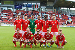 WREXHAM, WALES - Friday, September 2, 2016: Wales players line up for a group photograph ahead of the UEFA Under-21 Championship Qualifying Group 5 match against Denmark at the Racecourse Ground. Back Row LtR: Wesley Burns, Thomas O'Sullivan, goalkeeper Billy O'Brien, Dominic Smith, Ellis Harrison, Thomas Lockyer, Front Row LtR:  Harry Wilson, captain Gethin Jones, Joshua Sheehan, Ryan Hedges, Jordan Evans. (Pic by Paul Greenwood/Propaganda)